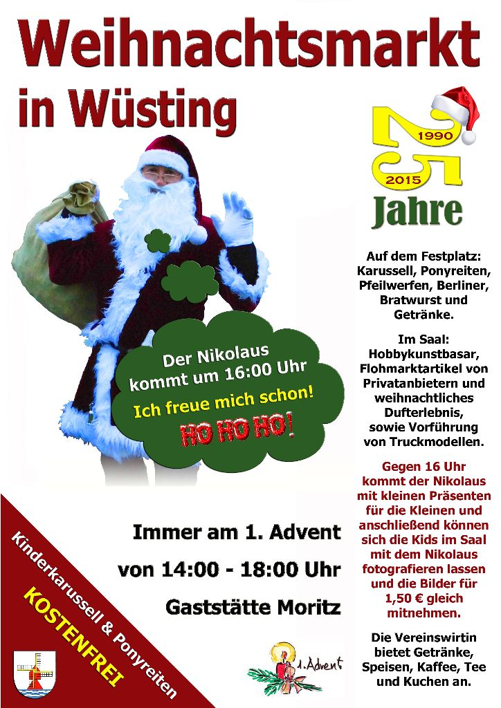 25. Wüstinger Weihnachtsmarkt vom Bürgerverein Wüsting e.V.