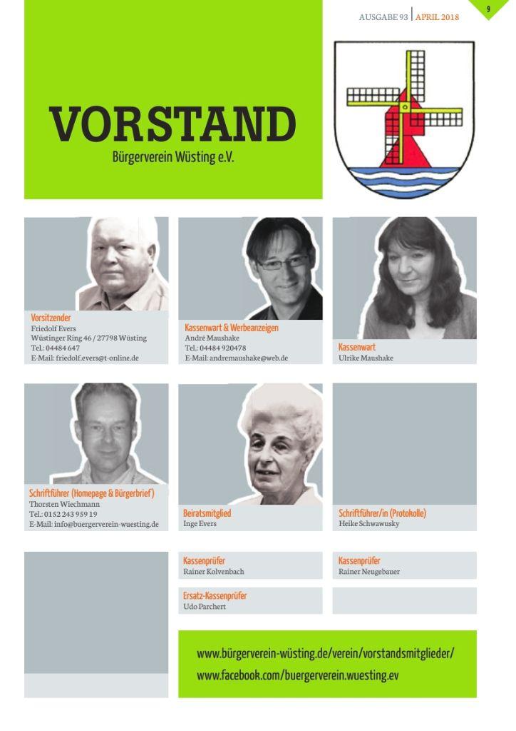 Der neue Vorstand vom Bürgerverein Wüsting e.V.