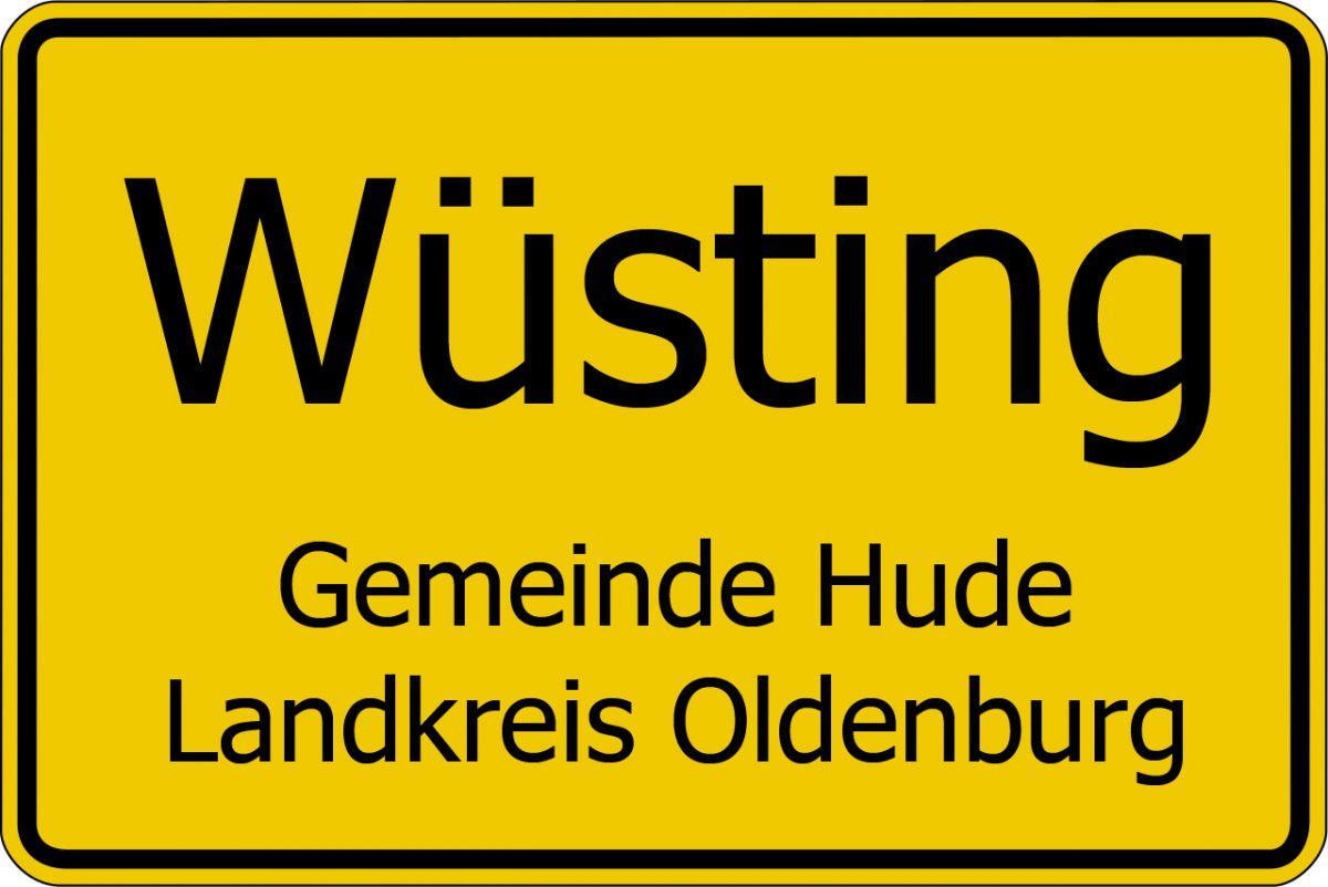Ortsschild Wüsting, Gemeinde Hude, Landkreis Oldenburg